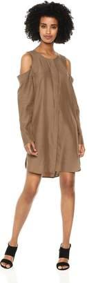 BCBGMAXAZRIA Women's Cold-Shoulder Sueded Dress