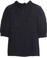 See by Chloe Ruffled Embroidered Georgette Blouse - Navy