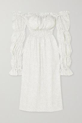 Sleeper Michelin Off-the-shoulder Shirred Polka-dot Linen Midi Dress - White