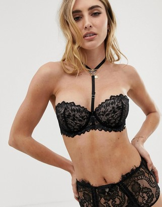 Bluebella Addison strapless lace bra with detachable harness detail in black