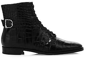Tod's Women's Croco-Embossed Leather Ankle Boots