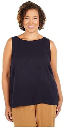 Eileen Fisher Plus Size Bateau Neck Swing Shell (Ink) Women's Clothing