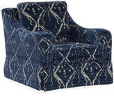 Massoud Furniture Hattie Skirted Swivel Chair - Indigo/Cream
