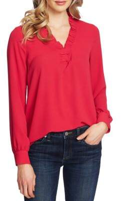 Cynthia Steffe Cece By Ruffled-Trim Long-Sleeve Blouse