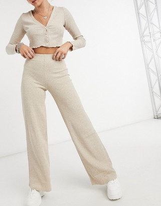 Bershka recycled cotton ribbed wide leg trouser co-ord in oatmeal