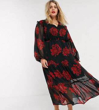 Neon Rose Plus tiered maxi tea dress with balloon sleeves in bold floral