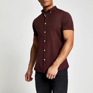 River Island Mens Maison Riviera dark Red slim fit Oxford shirt