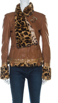 Roberto Cavalli Brown Leather Fur Lined Jacket M