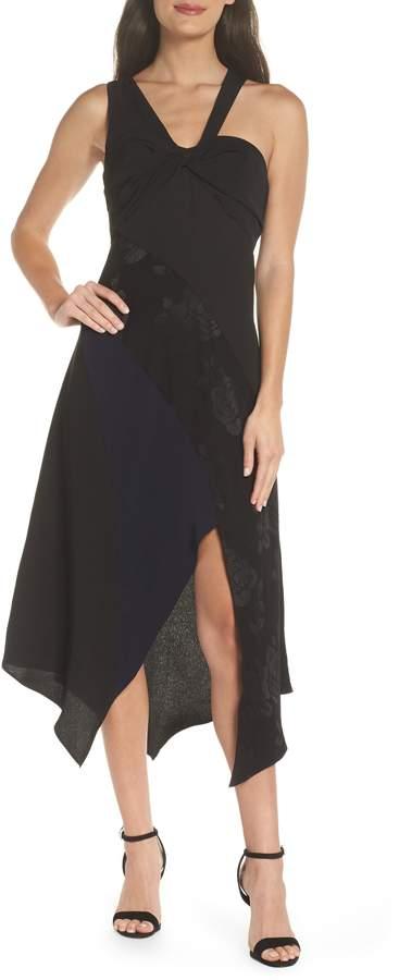 Harlyn Asymmetrical Mix Media Midi Dress