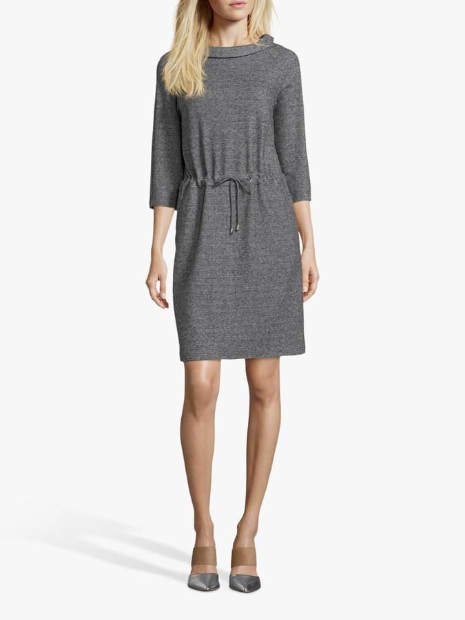 Betty Barclay Sporty Tweed Effect Jersey Dress, Black/Grey