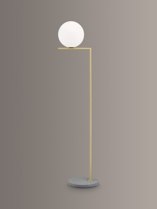 Flos IC F2 Outdoor Floor Lamp, Brass/Grey Lava Stone