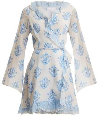Vagabond Athena Procopiou Long-sleeve Wrap Dress - Womens - Blue White