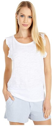 Lilla P Ruffle Sleeve Tank in Slub (White) Women's Clothing