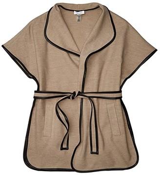 Calvin Klein Faux Wool Belted Cape (Oat Heather) Scarves