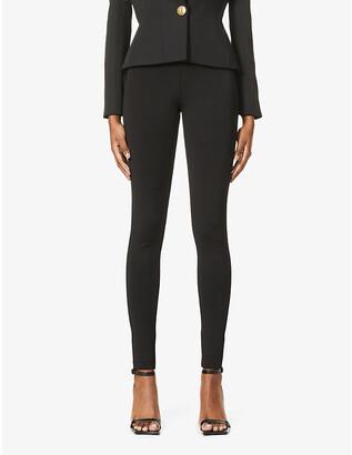 Balmain Button-embellished high-rise stretch-woven leggings