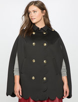 ELOQUII Plus Size Double Breasted Scallop Cape Coat