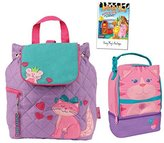 Stephen Joseph Quilted Cat Backpack and Lunch Pal Combo - Cute Girls Backpacks