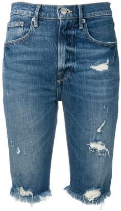 Frame Fringed Distressed Denim Shorts