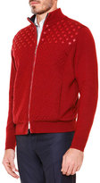 Stefano Ricci Textured Crisscross Full-Zip Sweater, Red