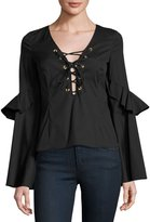 Caroline Constas Anastasia Lace-Up Top, Black