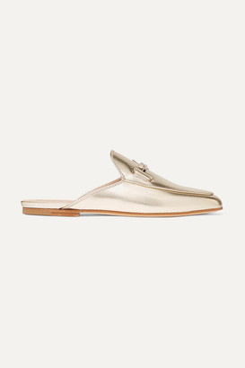 Tod's Embellished Metallic Leather Slippers - Gold