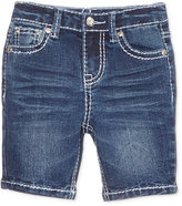 Revolution by Revolt Embellished Flower-Pocket Denim Bermuda Shorts, Little Girls (2-6X)