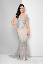 Terani Evening - Charming Sequined and Laced Portrait Neck Mermaid Dress 1713M3505
