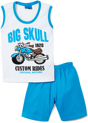 Sweet & Soft Boys' Casual Shorts Blue - White & Turquoise 'Big Skull' Motorcycle Tank & Shorts - Infant