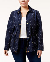 Charter Club Plus Size Dot-Print Anorak Jacket, Only at Macy's