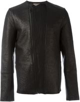 Tony Cohen textured biker jacket - men - Silk/Linen/Flax/Leather/Polyurethane - 46