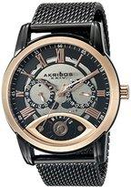 Akribos XXIV Men's AK846BKR Round Silver and Black Dial Three Hand Retrograde Quartz Rose Gold Tone Bracelet Watch