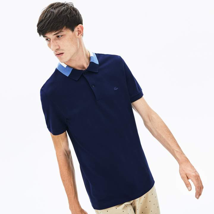 db24fa35b5 Men's Slim Fit Color-Block Collar Cotton Pique Polo