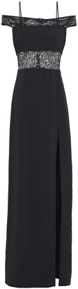 David Koma Sequin-embellished Mesh-paneled Stretch-crepe Gown