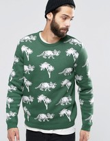 Asos Sweater with Dinosaurs and Palm Trees