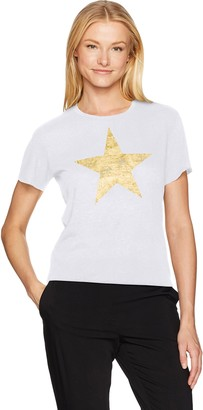 David Lerner Women's Star High Low Crew Neck Tee