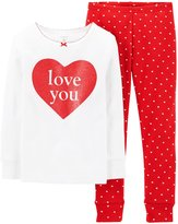 Carter's 2 Piece Holiday PJ Set (Baby) - Love You-6 Months