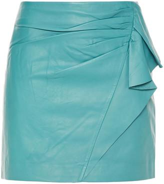 Mason by Michelle Mason Ruffled Leather Mini Skirt