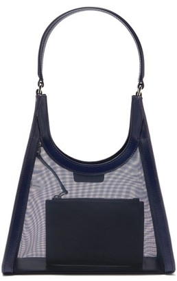 STAUD Rey Small Mesh And Leather Shoulder Bag - Navy