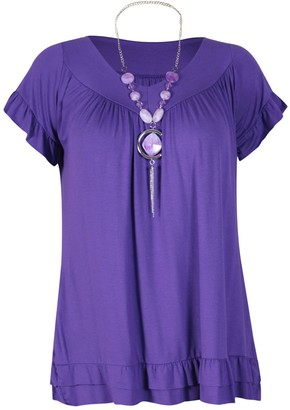 Purl Womens Plus Size Frill Necklace Gypsy Ladies Tunic Short Sleeve Long V Neck Tops (16