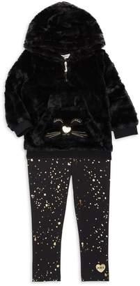 Juicy Couture Girl's 2-Piece Faux Fur Hoodie and Splatter-Print Leggings Set