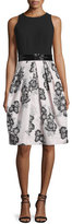 Carmen Marc Valvo Sleeveless Beaded-Waist Floral-Print Dress