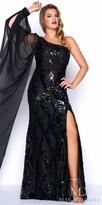 Mac Duggal Sequin One Shoulder Plus Size Evening Dress