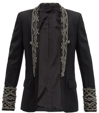 Balmain Single-breasted Beaded Wool-crepe Jacket - Black