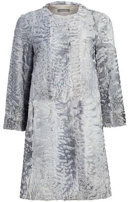 Zac Posen For The Fur Salon Collarless Swakara Lamb Coat
