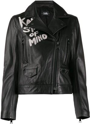 Karl Lagerfeld Paris Slogan Biker Jacket