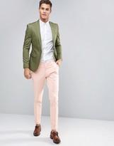Asos Skinny Smart Pants In Dusty Pink Cotton