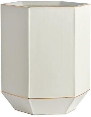Kassatex St. Honore Wastebasket - Cream/Gold
