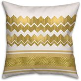 Greek-Inspired Chevron Striped Square Throw Pillow in Cream/Gold