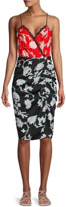 Diane von Furstenberg Floral Lace-Trim Faux Wrap Dress