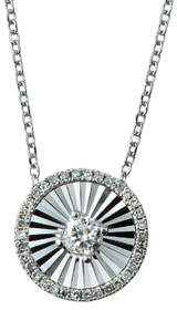 Diana M 14k White Gold Diamond Fluted Circle Pendant Necklace